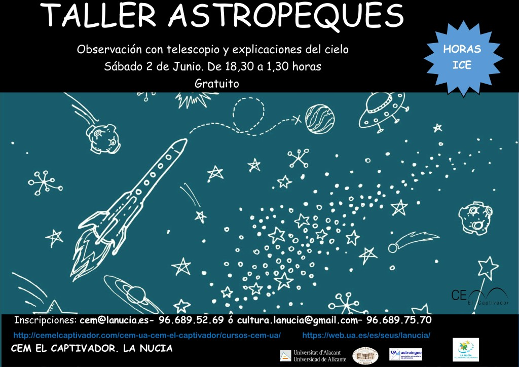 Cartel Taller Astropeques Junio 2018